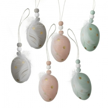 Heaven Sends Set of 6 Feather Egg Easter Tree Decorations