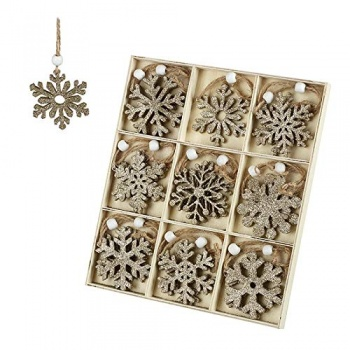 Heaven Sends  Wooden Gold Glitter Snowflake Tree Decorations