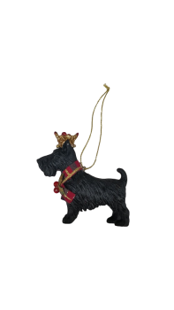 Gisela Graham Christmas Decoration Resin Scottie Dog with Crown