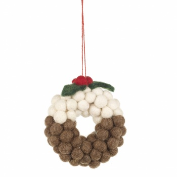Felt So Good Mini Christmas Pudding Wreath Hanging Decoration