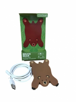 Mustard Bruce Bear Wireless Phone Charger