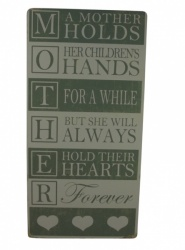 A Mother Holds her Childrens Hands Wooden Word Plaque