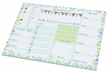 Padblocks A4 Floral Blue Design Desktop Weekly Planner