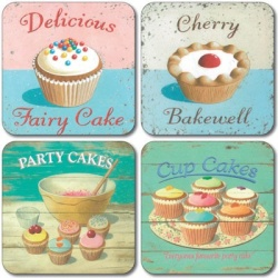Martin Wiscombe Retro Assorted Cup Cake Coasters