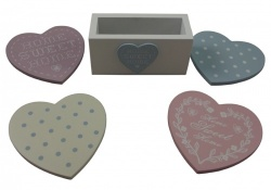 Shabby Chic Assorted Pastel Heart Coasters with Stand