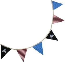 Powell Craft Childrens Pirate Design Fabric Bedroom Bunting