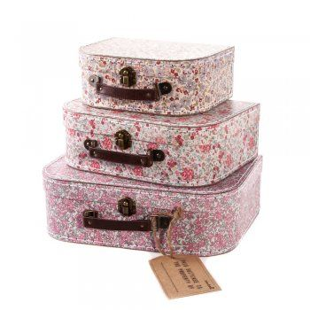 Sass And Belle Set Of 3 Floral Vintage Suitcases