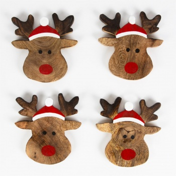 Sass & Belle Set of 4 Rudolph The Reindeer Coasters