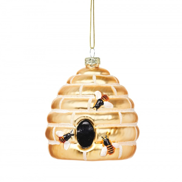 Sass & Belle Bee Hive Glass Bauble Christmas Decoration