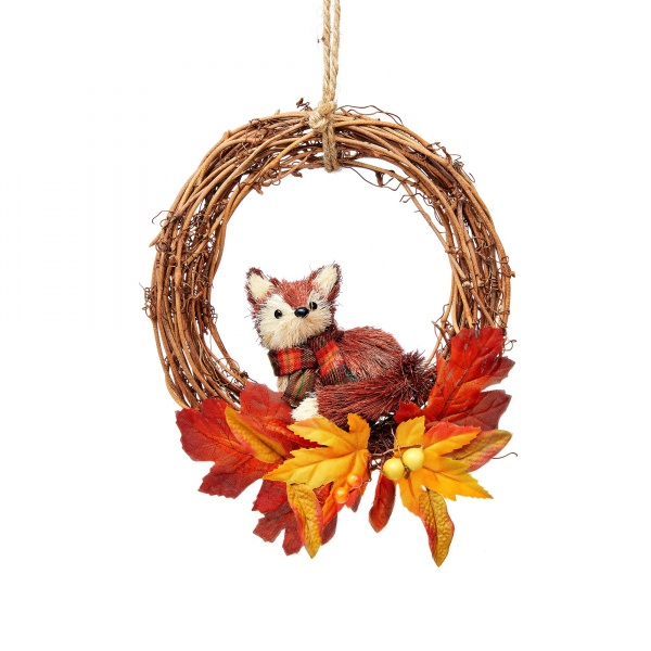 Sass & Belle Woodland Bristle Fox Autumnal Christmas Twig Wreath
