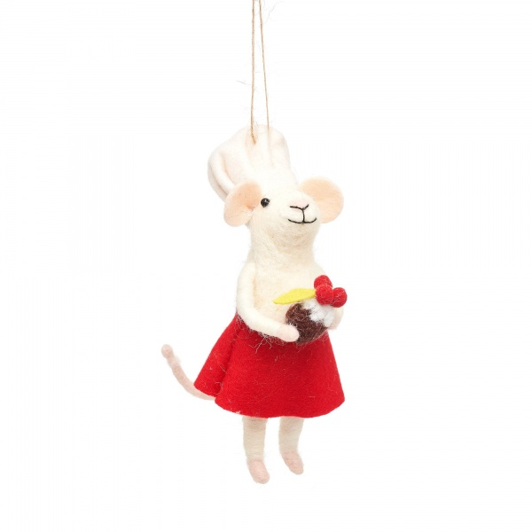 Sass & Belle Baker Mouse Hanging Christmas Decoration