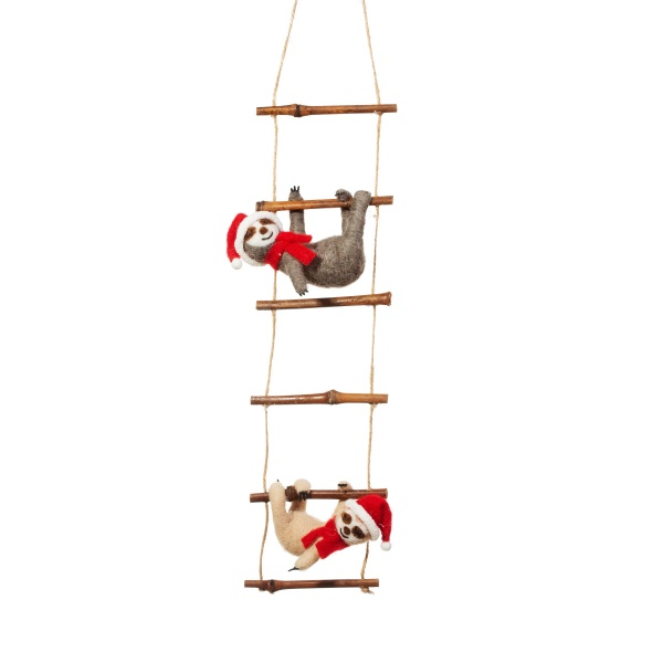 Sass and Belle Felt Christmas Sloths on Ladder Decoration