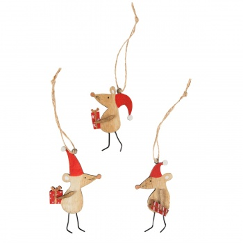 Set of 3 Novelty Mice Christmas Tree Decorations
