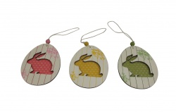 3 Assorted Bunny Easter Tree Egg Decorations
