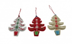Gisela Graham Christmas Tree Decoration - Trio of Button Trees