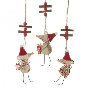 Heaven Sends Mix of 3 Wooden Hanging Mice