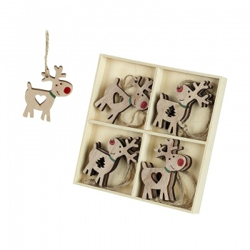 Heaven Sends Set of 8 Reindeer Cut Outs Hanging Decorations