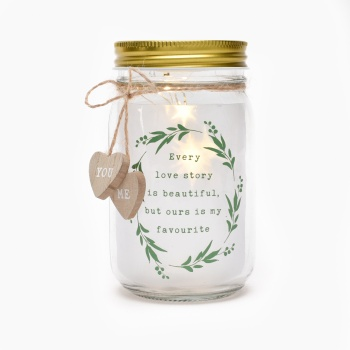 Widdop Love Story LED Light Up Jar - Wedding / Engagement Gift
