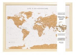 Personalised Travel Map Pinboard in White from Splosh - Small