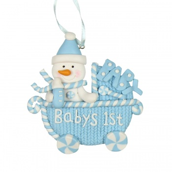 Widdop Gifts Baby's 1st Christmas Blue Pram Tree Ornament