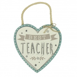 Best Teacher Pretty Hanging Heart Plaque