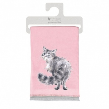 Wrendale Designs Purple Cat Design Winter Scarf with Gift Bag
