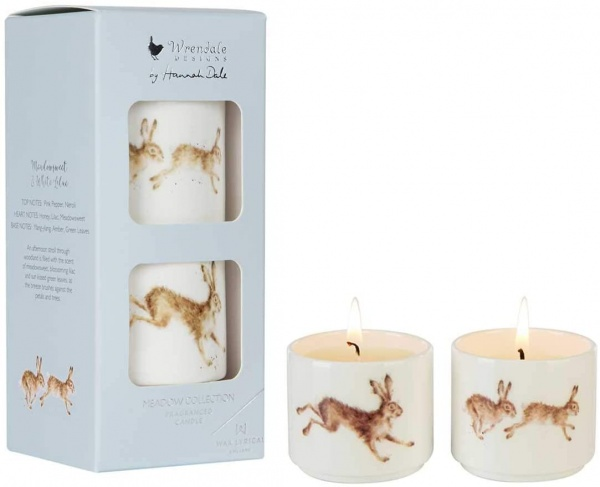Wrendale Designs Set of 2 Meadowsweet and White Lilac Ceramic Candles
