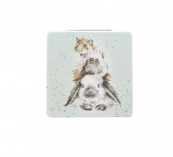 Wrendale Designs 'Piggy in The Middle' Compact Mirror With Gift Box