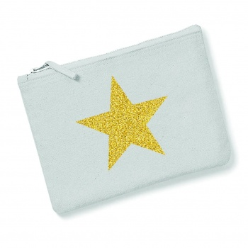 Light Grey With Gold Glitter Star Make Up Bag