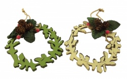 Gisela Graham 2 Fretwork Wreath Cone Christmas Decorations