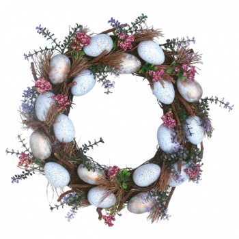 Gisela Graham Blue and Gold Speckled Egg Easter Wreath