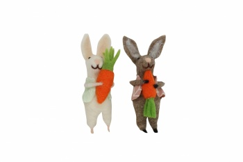 Gisela Graham Wool Pair Of Bunny Easter Tree Decorations