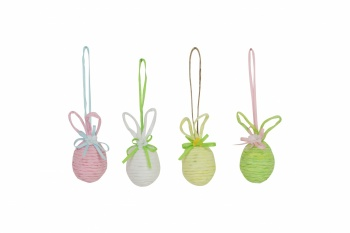 Gisela Graham Easter Tree Decorations - Ribbed Eggs