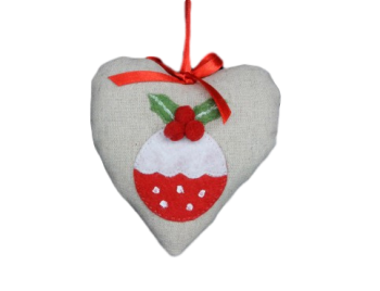 Gisela Graham Fabric Heart With Pudding Feature