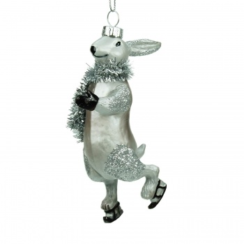 Gisela Graham Glass Skating Hare Novelty Decoration