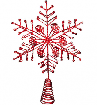 Gisela Graham Glittered Red Christmas Star Tree Topper