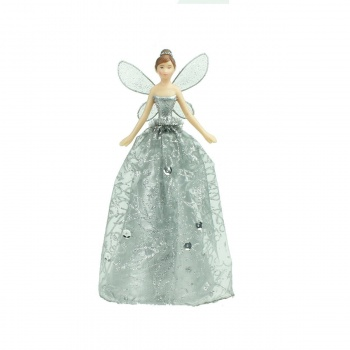 Gisela Graham Silver Glitter Christmas Fairy Tree Topper