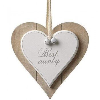 Heaven Sends Shabby Chic Best Aunty Wooden Heart Plaque