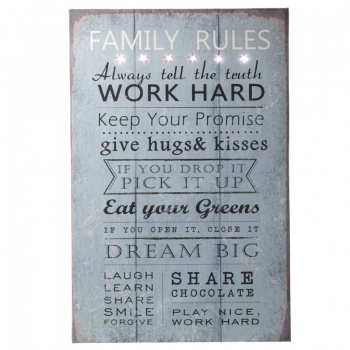 Heaven Sends Family Rules LED Home Wall Canvas