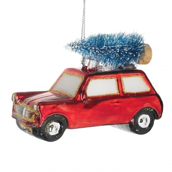 Heaven Sends Glass Car With Tree Christmas Decoration