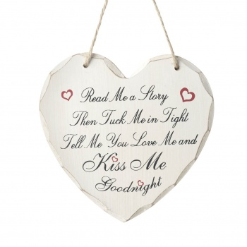 Heaven Sends Read Me A Story Wooden Heart Plaque