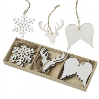 Heaven Sends Set of 18 Assorted White Christmas Decorations