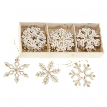 Heaven Sends Cream & Gold Snowflake Christmas Tree Decorations