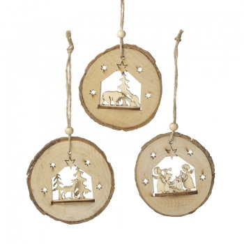 Heaven Sends Bark Festive Scene Christmas Tree Decorations
