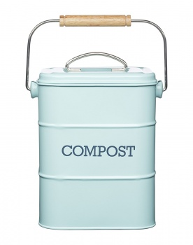 Retro Style Blue Lidded Compost Bucket