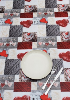 Peggy Wilkins Pvc Dining Tablecloth - Alpine Hearts