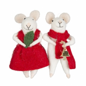 Set of 2 Felt Novelty Mice Christmas Tree Decorations