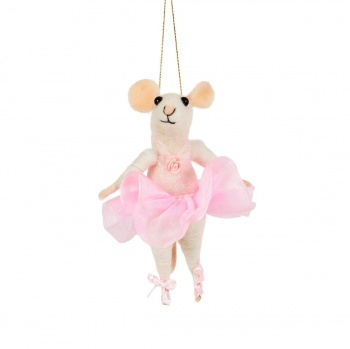 Mouse Ballerina Felt Hanging Christmas Tree Decoration