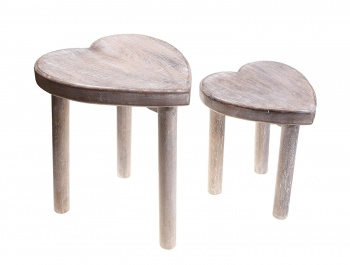 Sass & Belle Set of 2 Heart Wooden Stools