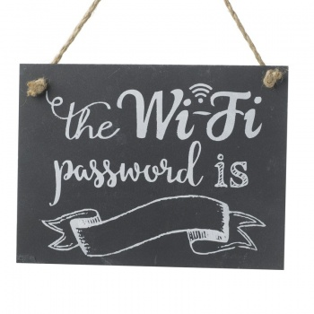 Heaven Sends Slate Wifi Password Hanging Plaque